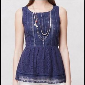 anthropologie • Navy Blue Lace Coraline Tank Top